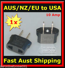 AU Aust NZ EU to USA AC Power Travel Plug 10 Amp Adapter Converter 1pc (mini)