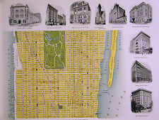 Map of Manhattan 1899 CENTRAL PARK BRYANT 36th-77th Hudson to East River Matted
