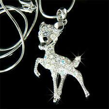w Swarovski Crystal ~BAMBI DEER Fawn Charm Pendant Chain Necklace Cute Xmas Gift