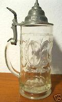 Alter Bierkrug Glaskrug 0,5 l Glas mit Zinndeckel Kronenmarke am Boden vor 1900?