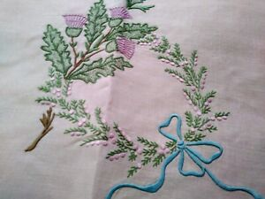 "Gorgeous Colorful Madeira Linen Thistle & Wreath Embroidered Tablecloth 34""×33"""