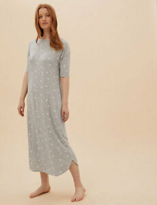 MARKS AND SPENCER STAR PRINT LONG NIGHTDRESS GREY MIX COLOUR SIZE 12