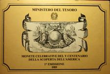 NL* ITALIA 500 LIRE ARGENTO 1989 SCOPERTA AMERICA 1^ EMISSIONE FDC SET ZECCA