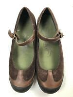Merrell women's brown mary jane style comfort shoes size 9 leather and suede