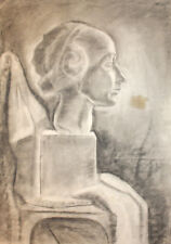 Antique pencil drawing still life with sculpture woman head