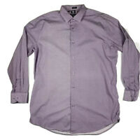 Purple Button Up Dress Shirt by Adrienne Vittadini Men's Size XLT Long Sleeve