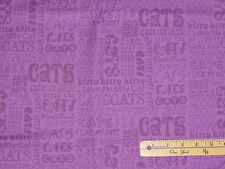 Caterwauling Tails I Love My Kitty Cat Purple Fabric by the 1/2 Yard #0914