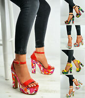 Womens Floral Platform Sandals Ladies High Block Heels Peep Toe Strappy Shoes