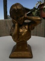 """Vintage Stature Girl Holding Ears Bad Music Gold Bust Snail Emblem apx 9"""" Tall"""