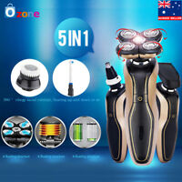 5D Mens Electric Razor Rotary Shaver Cordless 360° Haricut & Nose Trimmer NEW