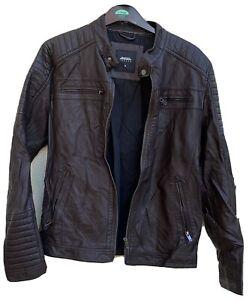 Vintage Burtons Brown Faux Leather Biker Jacket Size M