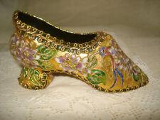 French Slipper Cloisonne Shoe Figurine Enamel and Gold Embellished Floral