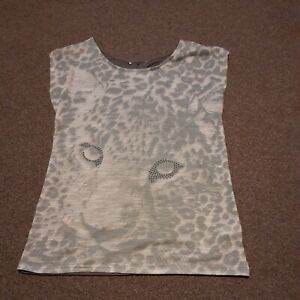 Ladies leopard face print TShirt top size 10 leopard T Shirt
