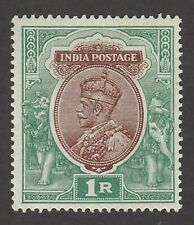 India King George V 1911 1Re brown & green MH white gum