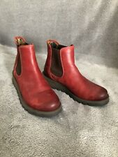 Fly London EU 36 UK 3 Red Leather Ankle Length Boots
