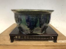 Unique Round Glazed Shohin Size Bonsai Tree Pot By Fugushige Bushuan 5 3/8�