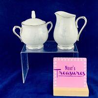 Noritake VIRTUE 2934 White Blue Rose Platinum Porcelain Sugar Bowl Creamer Set