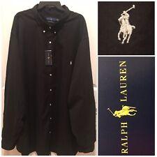 NWT $98.50 Ralph Lauren L/S 5LT Feather Weight Twill Button Front Black Shirt