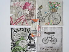 5 Servietten, Velo, Paris, Fahrad, Blumen, Romantik, Rose