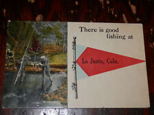 LA JUNTA CO - 1916 POSTCARD - PENNANT GREETINGS - OTERO COUNTY