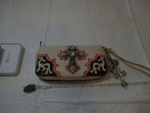 Large CROSS wristlet wallet hearts keychain key ring cream jeweled cards travel