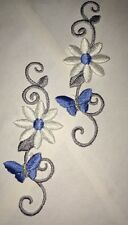 2 Blue Butterfly & Flower Silver Stem  Embroidered Iron-On Fabric Appliques