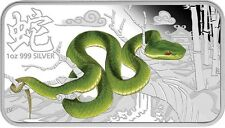 2013 Cook Year of the Snake Chinese Green Tree Viper 1 Oz Silver Rectangle Coin