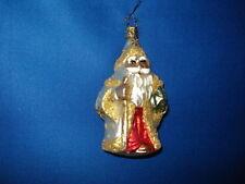 Santa Ornament Glass Golden Santa with Staff Drum Old World Christmas 4147 28