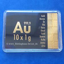 Plaque de lingots 10 x 1 g d'Or Valcambi Suisse Blister or 99,99 CombiBar