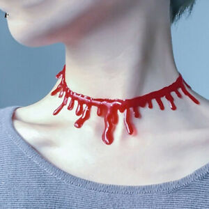 Halloween Ornament Red Scary Blood Pendant Choker Necklace Women Jewellery Gift