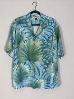 Tommy Bahama Mens Large 100% Silk Floral Palm Trees Hawaiian Camp Tropical Shirt