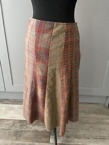 Per Una Orange Brown Tartan Check Midi Skirt Tweed  Wool Blend Patch Size 14L