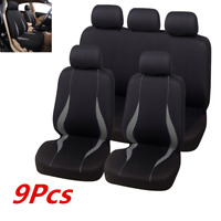 9 Pcs Gray Seat Covers Cushion Interior Accessories Washable Fit For 5-seat Car