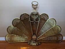"""Vintage Ornate Brass Aztec Fireplace Fan Folding Screen Art Deco 37"""""""