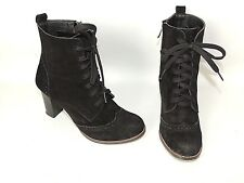 SHORAN HANDMADE BLACK SUEDE ZIP AND LACE UP ANKLE BOOTS UK SIZE 4.5. EU37.5