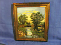 Stone Arch Bridge Vintage Oil Painting Fall Foliage