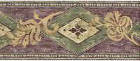 Purple Green Diamonds Golden Tan Leaf Scroll Geometric Modern Wallpaper Border