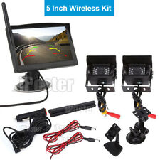 2x Wireless CCD Reversing Camera 12-24v 5 Inch Monitor windows sution for Van RV