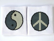 Pair of Yin Yang Peace Sign  Wrist 2 Sided Sweatbands Wristbands Running Gym