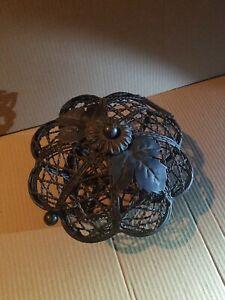 Vintage Decorative Ornamental Metal Basket Hinged