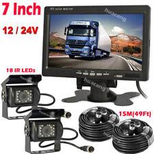 "For RVs Truck Caravan 4Pin Reversing Rear View 7"" Monitor Dual Backup Camera Kit"