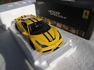 1/18 Elite Hotwheels Ferrari 458 Speciale jaune BLY32
