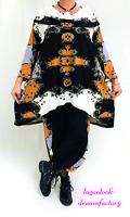 Lagenlook Carmenkragen-Long-A-Linie-Tunika-Shirt Ornamente 44 46 48 50 52 56 58