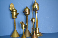 Collection of 5 Graduated Antique 19th Century Brass Whale Oil Lamps, c 1870