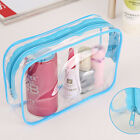 Plastic PVC Clear Transparent Travel Makeup Cosmetic Toiletry Zip Bag Pouch ZU
