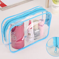 1Pc Clear Transparent Plastic  Travel Makeup Cosmetic Toiletry Zip Bag Pouch BH