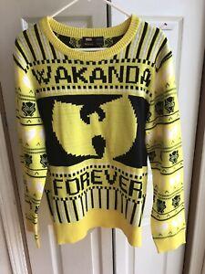 Black Panther Marvel x Wu Tang Wakanda Yellow Knit Christmas Sweater Size Large