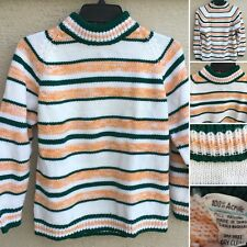 Vintage Sweater Zipper Neck Striped Acrylic Made In Taiwan L