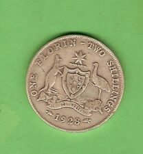 1928  AUSTRALIAN STERLING SILVER FLORIN TWO SHILLING  COIN