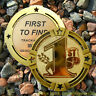 """1st! First to Find Geocoin Geomedal (2.75"""" + Cutouts, Ant. Gold Colour) FTF"""